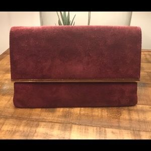 Vintage Burgundy and Gold Suede Purse